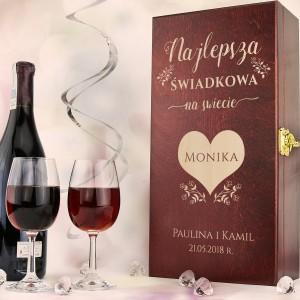 grawerowana skrzynka na wino z kieliszkami na podziękowanie dla świadkowej