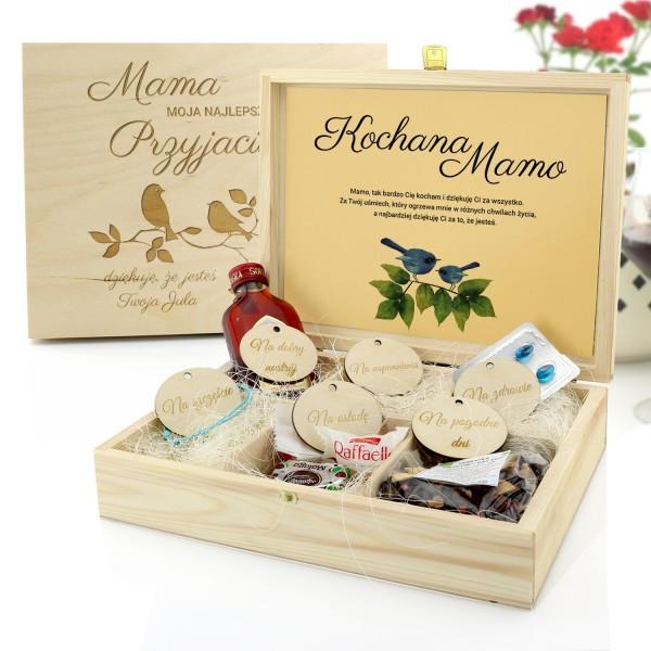 prezent na dzień matki pudełko prezentowe z przegródkami i grawerem