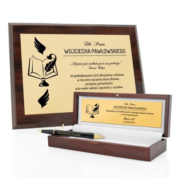 prezent dla nauczyciela certyfikat i długopis parker z imieniem