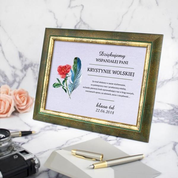 prezent dla wychowawczyni certyfikat w ramce z personalizacją