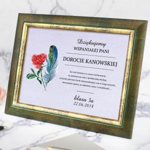 spersonalizowany certyfikat w ramie na prezent dla wychowawczyni na koniec roku