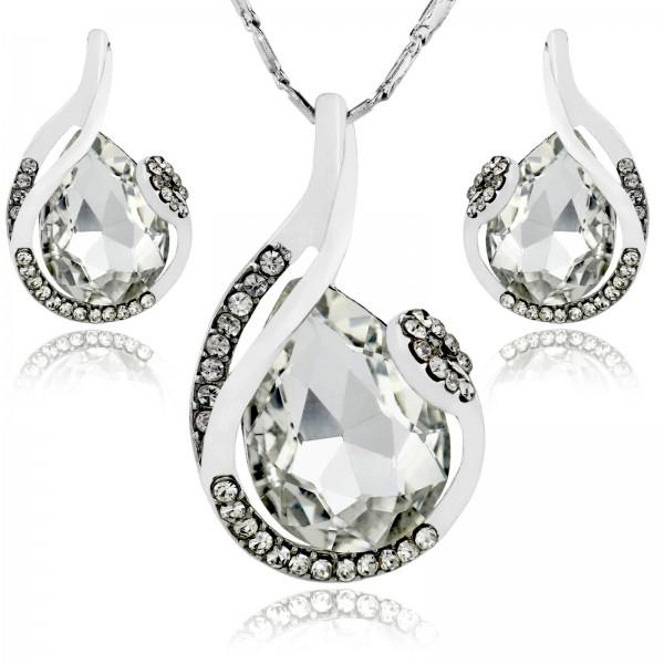 naszyjnik i kolczyki z kryształami na prezent na walentynki dla niej
