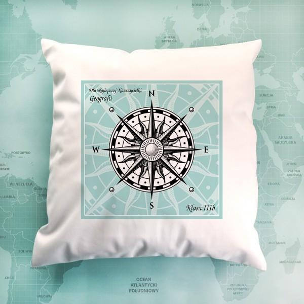 poduszka z nadrukiem na prezent dla geografa