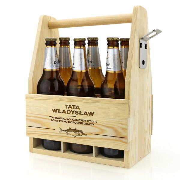 skrzynka nosidło na piwo drewniane z grawerem dedykacji dla taty