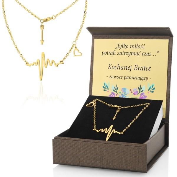 Zestaw biżuterii z nadrukiem dedykacji linia pulsu