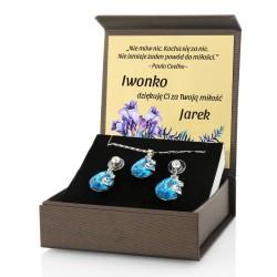 biżuteria damska w pudełku z nadrukiem dedykacji na prezent dla żony