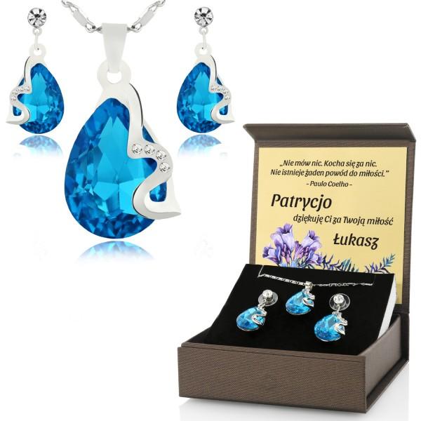 Zestaw biżuterii niebieskiej z nadrukiem imiennej dedykacji