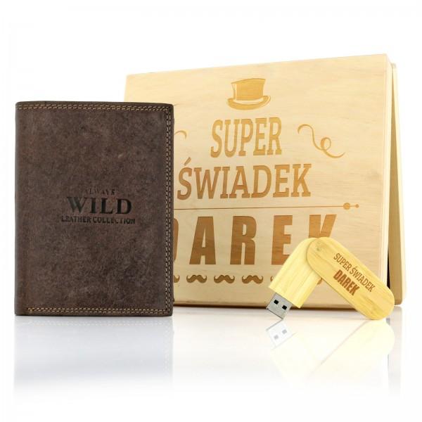 prezent dla świadka weselnego portfel i pendrive w skrzynce z grawerem