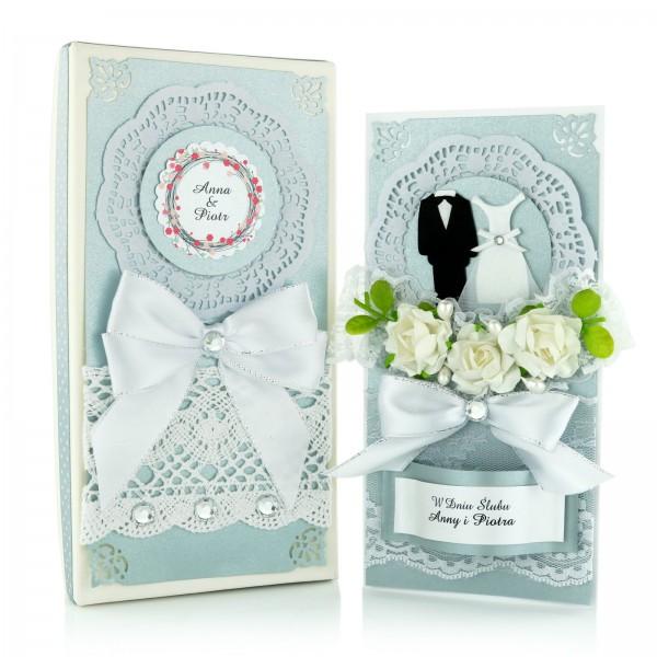 kartka na ślub ręcznie robiona w pudełku z personalizacją