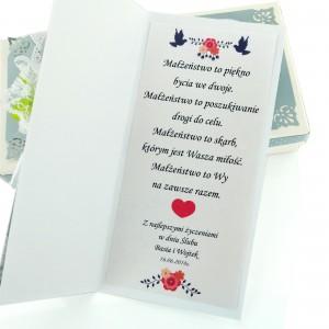 kartka z życzeniami na ślub i personalizacją na prezent