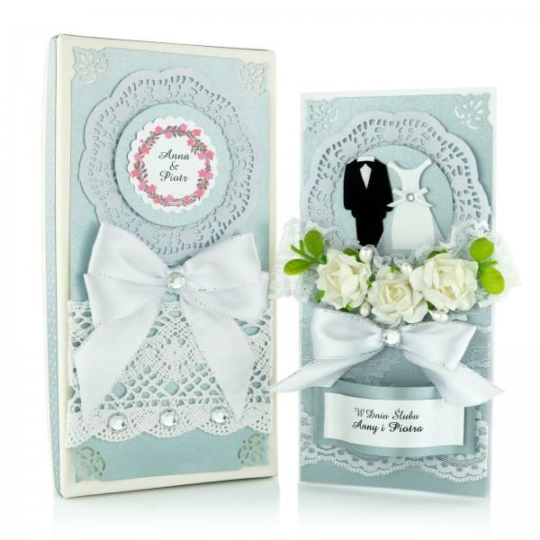 kartka na ślub ręczni robiona w pudełku z nadrukiem personalizacji