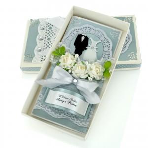 pamiątka na ślub kartka w pudełku ręcznie robiona
