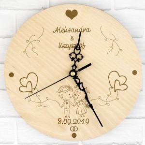 zegar z grawerem na prezent na ślub