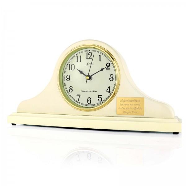 zegar kominkowy drewniany na prezent na ślub