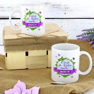 personalizowane kubki z nadrukiem dedykacji na prezent dla pary