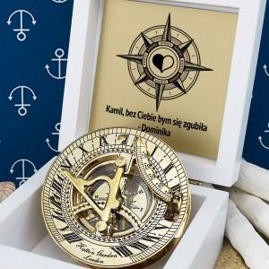 prezent dla męża mosiężny kompas z grawerem
