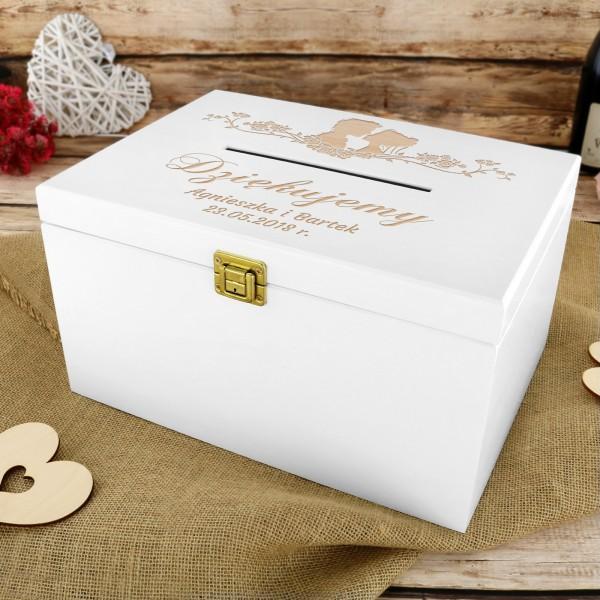 Modernistyczne Pudełko ślubne na koperty z dedykacją na prezent dla Pary Młodej EI94