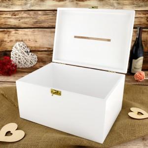 drewniane pudełko na koperty weselne