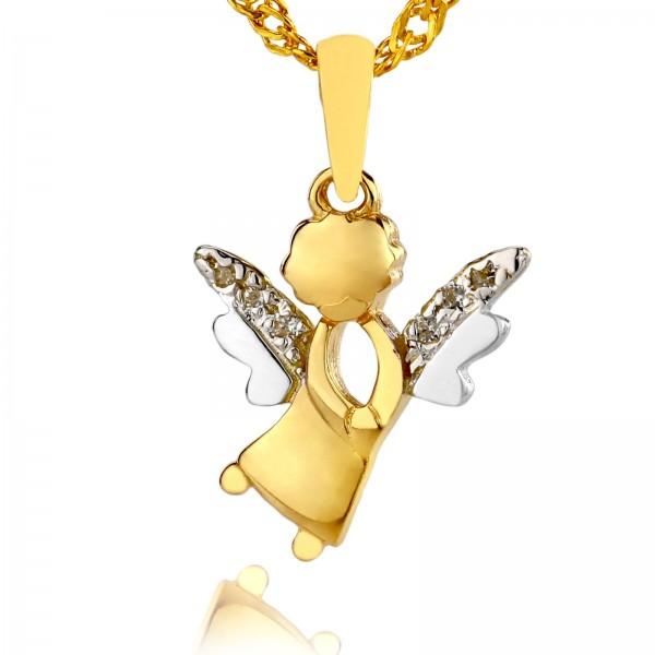 złoty aniołek zawieszka na prezent z okazji chrztu świętego