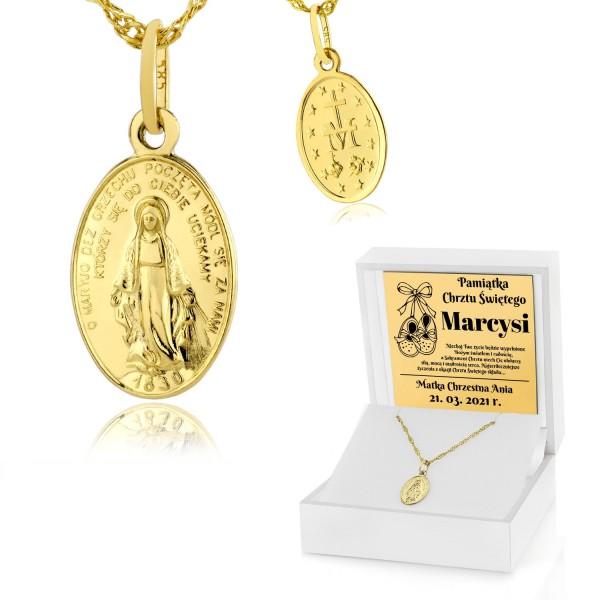 złoty medalik na pamiątkę chrztu