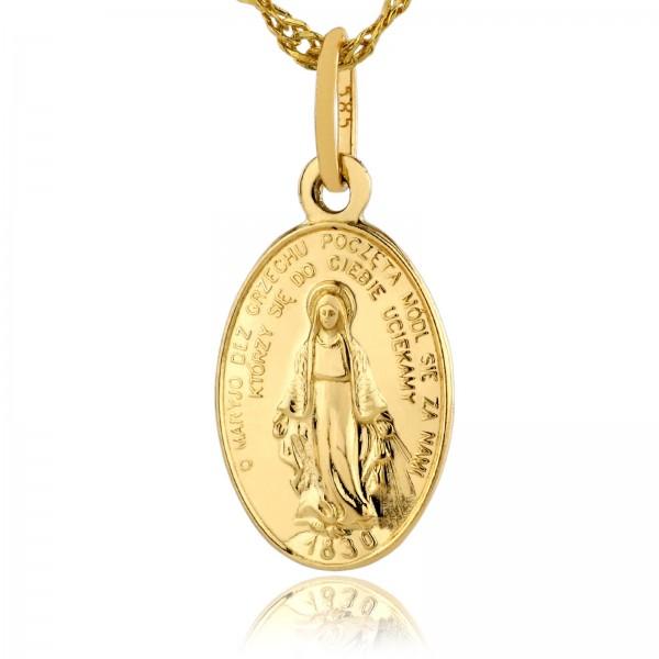 złoty cudowny medalik na prezent na chrzest