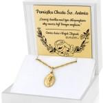 złoty medalik matka boska na prezent na chrzciny