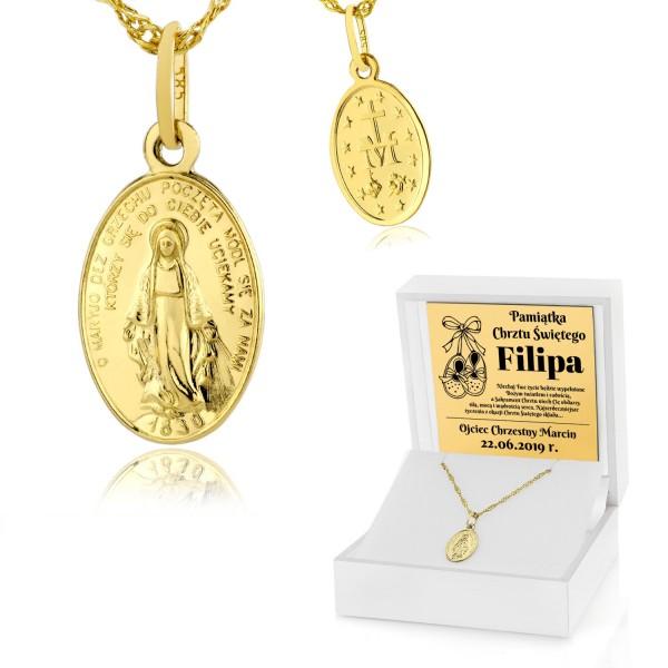 cudowny medalik niepokalanej w pudełku z dedykacją na prezent na chrzest