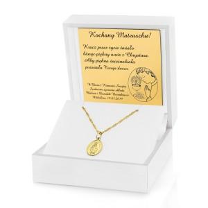 medalik niepokalanej w pudełku z grawerem dedykacji