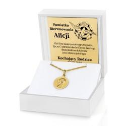 prezent na bierzmowanie dla dziewczyny złoty medalik z matką boską z grawerem