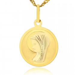 prezent na chrzest dla dziewczynki złoty medalik z matką boską z grawerem