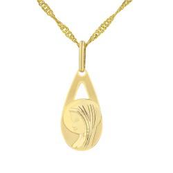 złoty medalik z matką boską na prezent z okazji bierzmowania