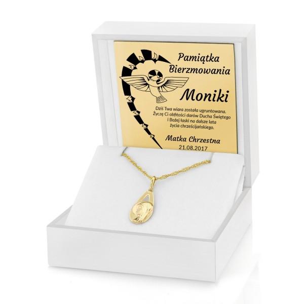 0efa73cc66 prezent na bierzmowanie złoty łańcuszek z medalikiem w pudełku z dedykacją