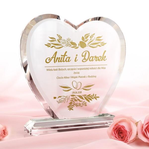 serce szklane z grawerem na prezent dla młodej pary