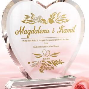 statuetka serce z grawerem na prezent na ślub