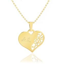 serce ze złota z grawerem na prezent dla niej