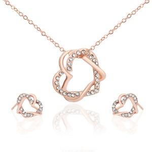 prezent dla żony biżuteria damska naszyjnik i kolczyki serce