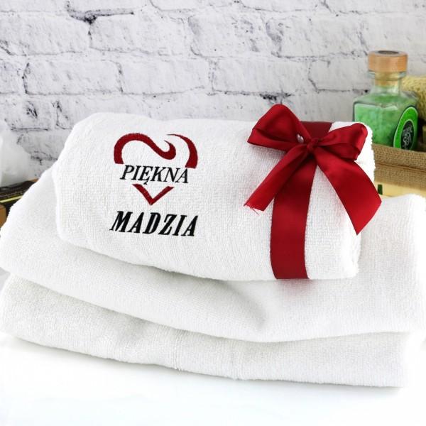pomysł na prezent dla żony biały ręcznik z haftem imienia