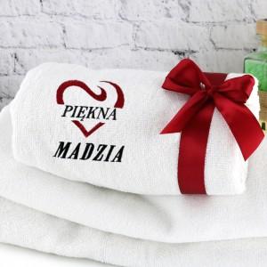 haftowany ręcznik z dedykacją na prezent dla niej