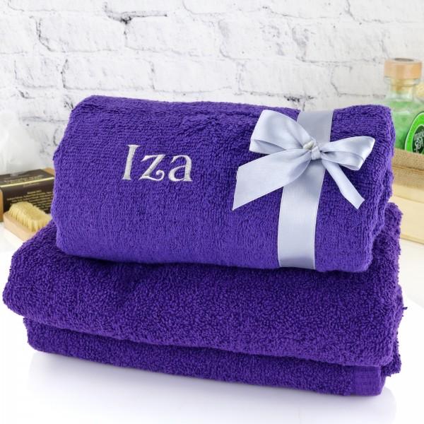 ręcznik z haftem imienia na prezent dla siostry na urodziny