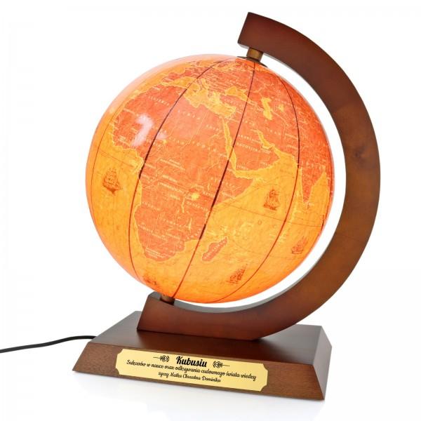 globus podświetlany z wygrawerowaną dedykacją
