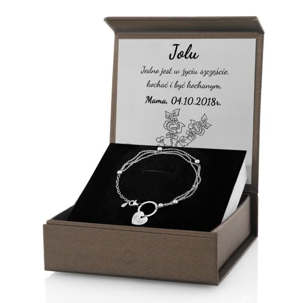 bransoletka srebrna damska w pudełku z dedykacją na prezent dla żony