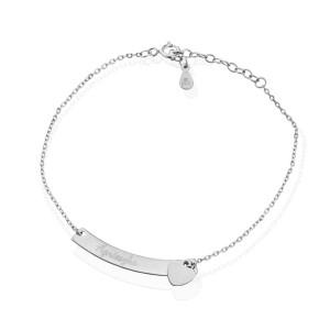 bransoletka celebrytka serce 925 z grawerem imienia na prezent dla narzeczonej