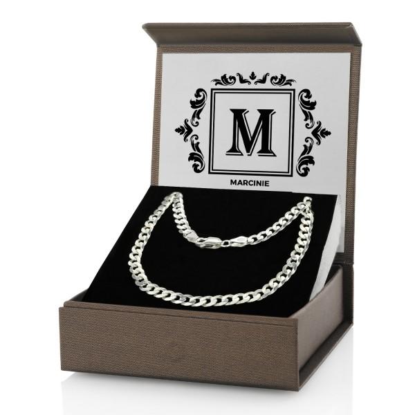 łańcuszek męski srebrny w pudełku z grawerem