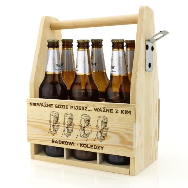 drewniana skrzynka na piwo z grawerem dedykacji
