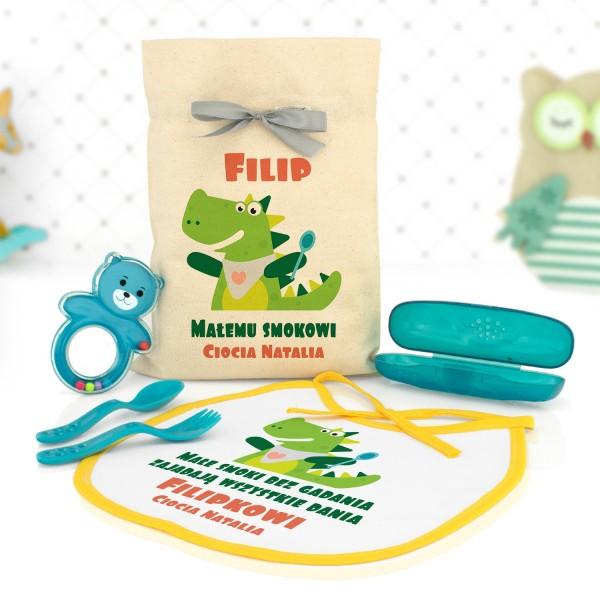 prezent dla dziecka zestaw akcesoriów kuchennych w worku z nadrukiem