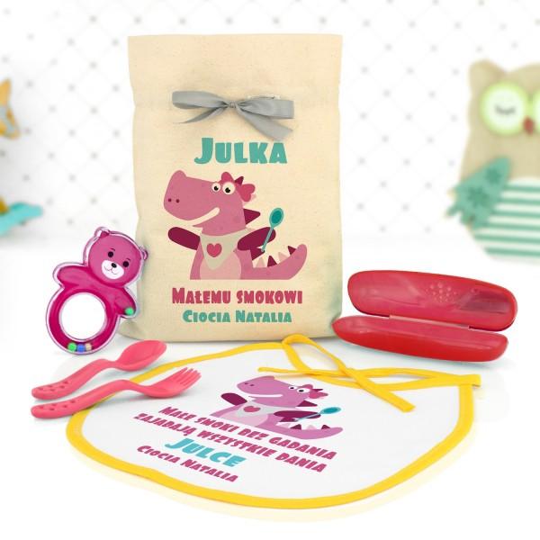 akcesoria do kuchni dla dzieci w woreczku z personalizacją na prezent na roczek