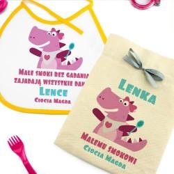 sztućce dla dzieci plastikowe w zestawie ze śliniaczkiem na prezent dla dziewczynki