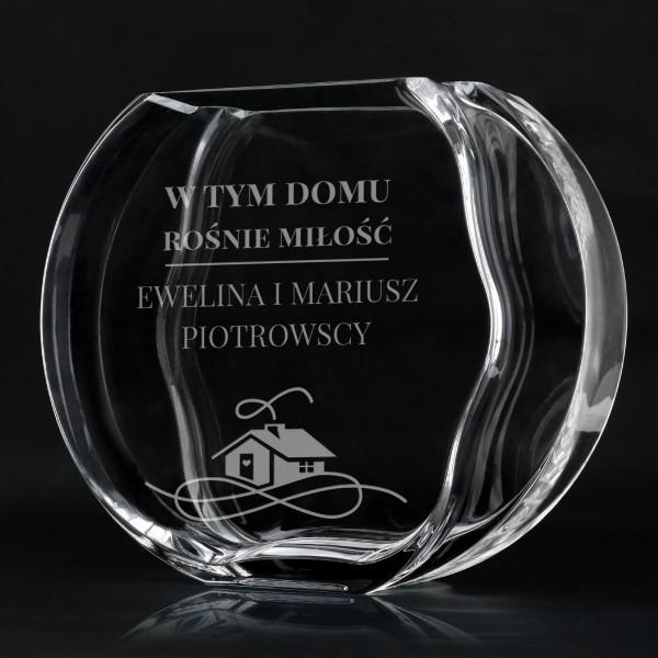 wazon szklany z dedykacją na prezent na ślub