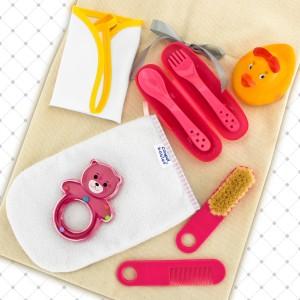 zestaw akcesoriów dla dziecka w worku z personalizacją na prezent na narodziny