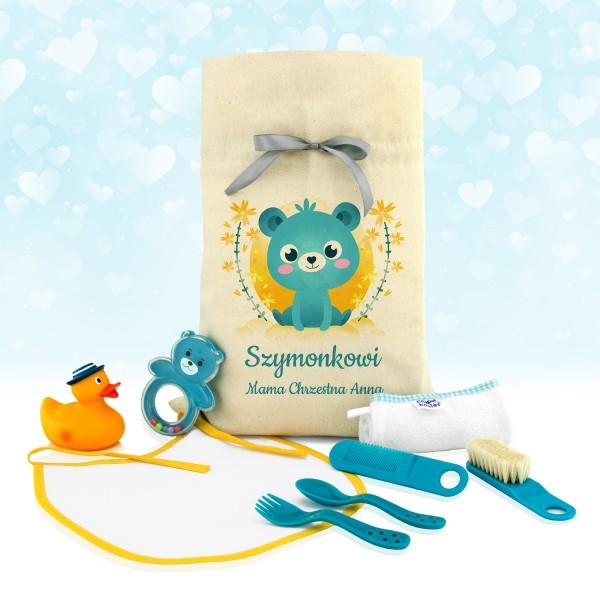 zestaw akcesoriów dla dziecka w worku z imieniem na prezent dla chłopczyka